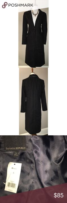 Banana Republic $85 NWT Pinstripe Long Coat 41% Polyester, 59% Wool. Dry clean. A blazer/coat hybrid in a pinstripe wool blend. Notch collar. Long sleeves. One-button closure. Front flap pockets. Center back vent. Fully lined. Banana Republic Jackets & Coats Trench Coats