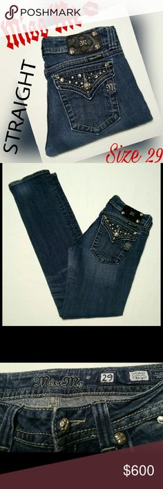 """MISS ME MEDIUM WASH STRAIGHT JEANS SZ 29 SUPER CUTE. EXCELLENT PRE-OWNED CONDITION. EMBELLISHED FLAP POCKETS. IS MISSING A SILVER DECORATION ON THE BLACK MISS ME PATCH ON THE WAIST. MEASUREMENTS ARE AS FOLLOWS. LYING FLAT SIDE TO SIDE. WAIST 15"""" HIPS 18"""" RISE 8"""" INSEAM 33"""" PLEASE READ THESE BEFORE YOU BUY. THANKS. Miss Me Jeans Straight Leg"""