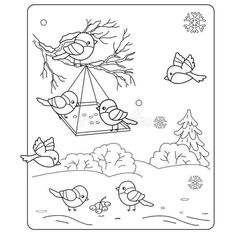 Winter Wonderland Coloring Sheets Awesome Coloring Pictures Of Winter – Bestofpage Coloring Pages Winter, Bird Coloring Pages, Coloring Pages For Kids, Coloring Sheets, Coloring Books, Winter Art, Winter Colors, Winter Theme, Feeding Birds In Winter