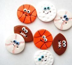 Items similar to Button Sport Balls handmade polymer clay buttons ( 4 ) on Etsy Polymer Clay Magnet, Clay Magnets, Polymer Clay Ornaments, Fimo Clay, Polymer Clay Earrings, Clay Beads, Clay Art Projects, Polymer Clay Projects, Polymer Clay Creations
