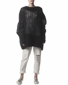Oversized Knit Sweater & Distressed Ripped Jeans by Acne Studios at Neiman Marcus.