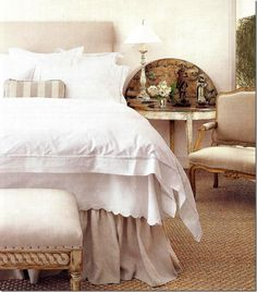 neutral bedroom with white bedding- relaxing. Bedroom Bed, Bedroom Decor, Bedroom Colors, Bed Room, Greige, Versace Home, Up House, Beautiful Bedrooms, Living Room Designs