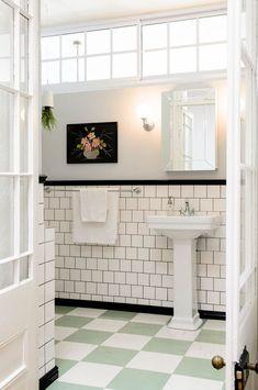 Retro Bathroom Makeovers 31 retro black white bathroom floor tile ideas and pictures | for