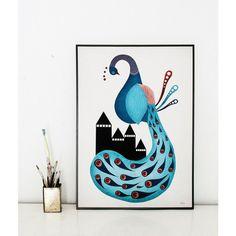 Skøn plakat med illustration af påfugl illustreret af Michelle Carlslund. Peacock plakaten måler B: 30 x H: 40 cm. Køb her - Stort udvalg af plakater til børn.