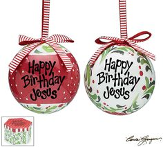 """From the Carla Grogan The Greatest Story series, 7 of each style ornament for a total of 14 in a printed gift box. Message: """"Happy Birthday Jesus"""" in 2 styles. One style is red and one style is white.          Ornaments made of poly-foam and paper.            3"""" Diameter"""