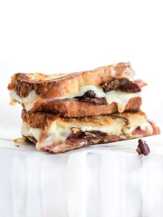 Brown Sugared Pecans and Sweet Bacon with Havarti Grilled Cheese   foodiecrush.com