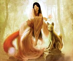 "Huli jing (literally: ""fox spirit"") are Chinese mythological creatures who can be either good or bad spirits. Mythological Creatures, Mythical Creatures, Tolkien, Asian Fox, Fantastic Fox, Tamamo No Mae, Fox Spirit, Spirit Animal, Chinese Mythology"