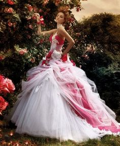 Red colored wedding dresses are great to wear to create a bold bridal look. Here we selected a number of gorgeous red colored wedding dresses for your ideas and inspirations. :) Have a look at the … Bridal Gowns, Wedding Gowns, Tulle Wedding, Backless Wedding, Bridal Hair, Red And White Weddings, White Ball Gowns, Colored Wedding Dresses, Beautiful Gowns