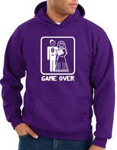 GAME OVER Funny Marriage Bride And Groom Hoodie Hoody - Purple 3XL
