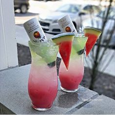 WATERMELON SURPRISE: Watermelon Mixer, Lemonade, Malibu Coconut Rum, Melon Liqueur, Green Apple Vodka