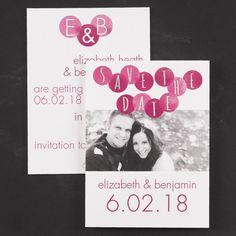 Modern Dots - Photo Save the Date | Follow @RegalWeddingsRH on Instagram and Pinterest! #wedding #regalweddingsrh #engaged #savethedate