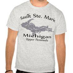 Sault Ste Marie Michigan Map Design T Shirt, Hoodie Sweatshirt