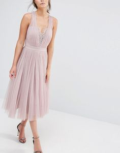 Image 3 of Little Mistress Embellished Midi Dress with Tulle Skirt