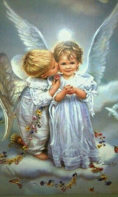 """ Thank you for the angel kiss. An angel kiss for your kindness 😇"" Baby Engel, Illustration Noel, I Believe In Angels, Ange Demon, Angel Pictures, Angels Among Us, Angels In Heaven, Guardian Angels, Angel Art"