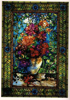 Potted Peony Window by Tiffany Studios..