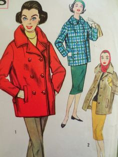 Vintage Simplicity 2638 Sewing Pattern, 1950s Coat Pattern, Car Coat, Double Breasted, Jacket Pattern, Bust 34, 1950s Sewing Pattern, Supply by sewbettyanddot on Etsy