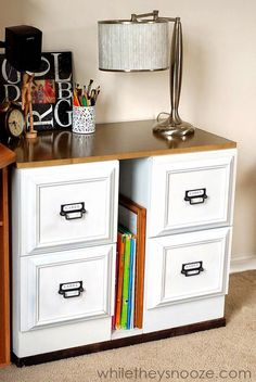 Add a longer top to transform into a desk. The cabinets looks so pretty and classic! They add trim and paint to match 'm. Furniture Diy, Furniture Hacks, Filing Cabinet, Furniture Makeover, Home Office Decor, Cabinet, Furniture, File Cabinet Desk, Update Cabinets