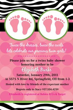 Baby Shower Invites For Twin Girls!