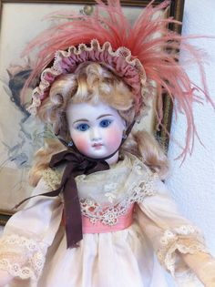 RARE Antique Belton French Doll Paperweight Eyes Antique Silk Dress w Lace | eBay