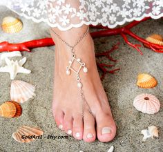 Barefoot sandals  Bridal sandals  Foot jewelry   by GoldArt1