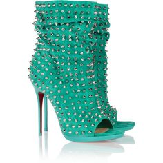 Christian Louboutin Guerilla 120 studded suede ankle boots ($1,995) ❤ liked on Polyvore