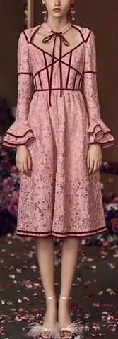 Lace Dress with Velvet Paneling, Pink
