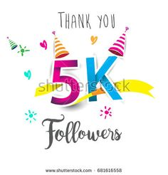 Thank you design template for social network and follower. Web user celebrates a large number of subscribers or followers. Thanks for 5K followers