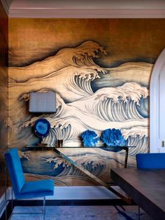 Japanese wall decor and royal blue accents