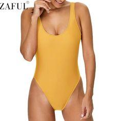 ZAFUL Sexy U Neck Flouncing High Cut Backless One Piece SwimSuit For Women Solid Swimwear Monokini Bathing Suit