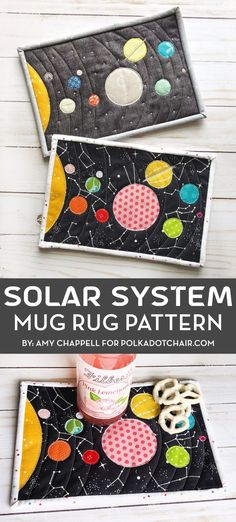 Create a fun mug rug perfect for back to school with this Solar System mug rug sewing tutorial. Quilting Tutorials, Craft Tutorials, Sewing Tutorials, Sewing Crafts, Sewing Projects, Craft Projects, Diy Crafts, Quilting Ideas, Fabric Crafts