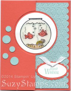 Stampin' Up! Cards - Fishin' Around and Petite Pairs stamp sets, Fancy Fan Embossing Folder, Crystal Effects, Circle Card Thinlits Dies