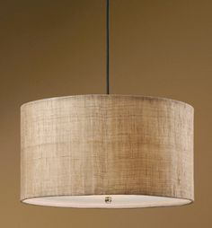 "Uttermost Dafina 21933 3 Light Burlap Drum Pendant 22"" diameter X 12"" high.  Frosted glass diffuser.  Antiqued burlap weave with white inner liner shade."