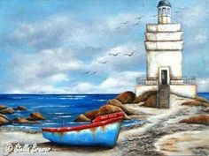 Art by Stella Lighthouse Painting, Painting Videos, Prismacolor, Artist Painting, Country Life, Barn Wood, Art Pictures, Nautical, Images