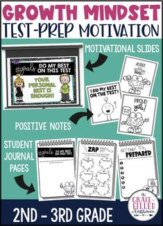 Everything you need to encourage your students to maintain a growth mindset during the test. Everything you need including growth mindset motivational slides, student journals, and positive notes. #growthmindset #testprepmotivation #testprep #growthmindsettestprep