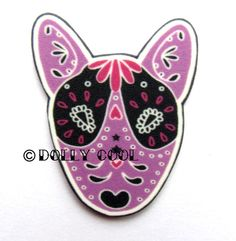 English Bull Terrier Brooch Day of The Dead Sugar by DollyCool