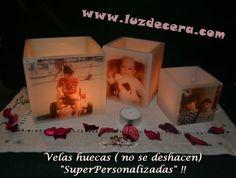 Fanales o Velas huecas personalizados - LuzdeCera -  Velas Artesanas www.luzdecera.com