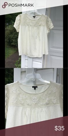 """NWT Talbots Cream With Lace At Neck Cotton Top 2XP NWT Talbots fun cream short sleeve top with lace, 2X petite length. 100% Cotton. Bust 50"""", length 25"""". Originally $69.50. Enjoy! Talbots Tops"""