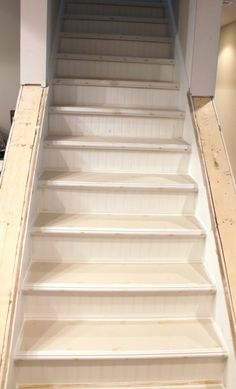My EnRoute life: Ugly basement stairs update with beadboard and chair rail trim