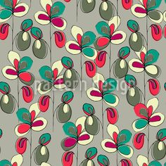 Lucky Flowers Grey Repeat Repeat by Bethania Lima at patterndesigns.com