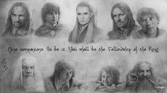 starrysundesign:  The Lord of the Rings - The Fellowship (portraits by Alan Lee)