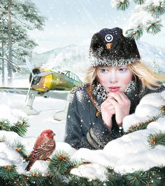 "Photo from album ""МОЯ АНИМАЦИЯ"" on Yandex. Winter Illustration, Illustration Art, Fantasy Portraits, Draw On Photos, Illustrations, Pin Up Art, Art Market, Kitsch, Photo Art"