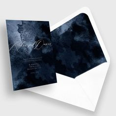 BLISS & BONE / Cornice Invitation Suite / Stationery Inspiration / Save the Date / Moody blue wedding invite design with silver foil calligraphy / Modern / Oceanic / The LANE