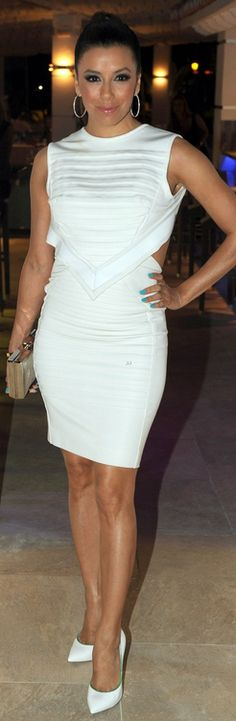 c5c8ce49cfe Who made Eva Longoria s white cut out dress and green piped pumps that she  wore in
