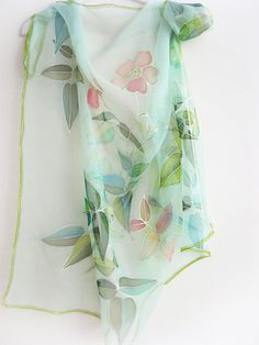Hand painted Silk chiffon scarf Mint green Summer. $75.00, via Etsy.