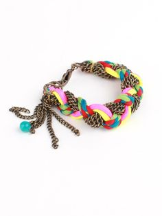 Adia Kibur Neon and String Chain Bracelet... I could totally do this. @love Maegan YOU should totally do this for a post!