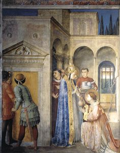 Fra Angelico (Italian, ca.1395-1455) ~ Pope Sixtus consigning the treasures of the church to St Lawrence ~ 1447-50 ~ Fresco ~ Cappella Niccolina, Palazzi Pontifici, Vatican
