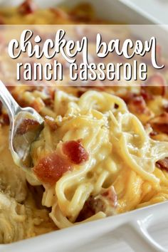 This chicken bacon ranch casserole is one of my favorite dinner recipes for busy weeks because there's plenty for leftovers! If you need an easy pasta casserole, this is your winner! #chicken #bacon #ranch #chickenbaconranch #crackchicken #pasta #casserole
