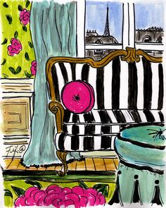 Pink Pillow #Paris Apartment by Fifi Flowers