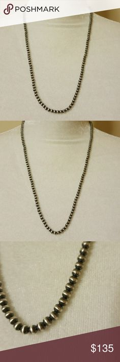 """Native American Navajo Pearl Necklace BEAUTIFUL,TIMELESS,SOPHISTICATED..I WORE THESE WHEN I COULD,SO BREATHTAKING..**SHE IS ADORNED IN STERLING SILVER**NECKLACE IS 22""""..THE PEARLS ARE 4 MM.SHE IS IN GREAT CONDITION** Jewelry Necklaces"""