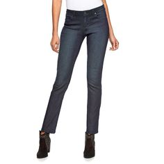 Women's Jennifer Lopez Straight-Leg Jeans, Size: 12 Short, Dark Blue
